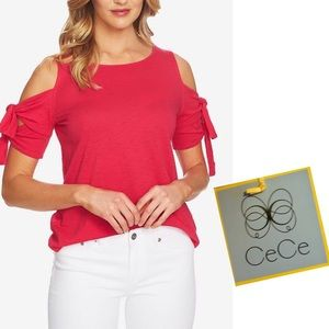Pink Cold Shoulder Top CeCe DOUBLE TIE Pretty  NWT
